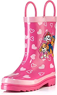 Nickelodeon Kids Girls' Paw Patrol Character Printed Waterproof Easy-On Rubber Rain Boots (Toddler/Little Kids)