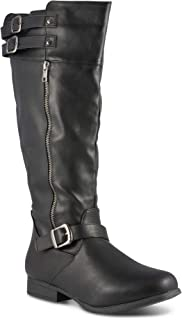 Women's Noah Wide Width/Wide Calf Knee High Faux Leather Boots with Buckle Straps