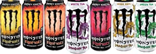 Monster Rehab Variety Pack 15.5 Ounce : Lemonade, Orangeade, Peach Tea, White Tea, Raspberry Tea, Yerba Mate, Green Tea