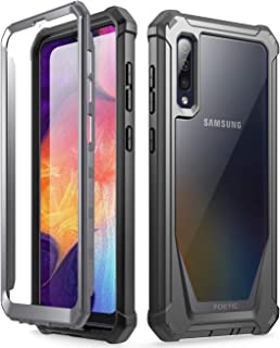Galaxy A50 Rugged Clear Case, Poetic Full-Body Hybrid Shockproof Bumper Cover, Built-in-Screen Protector, Guardian Series, Case for Samsung Galaxy A50 (2019 Release), Black/Clear