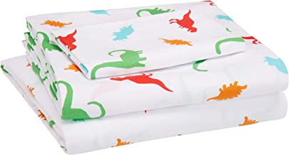 Amazon Basics Kid's Sheet Set - Soft, Easy-Wash Lightweight Microfiber - Twin, Multi-Color Dinosaurs