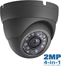 2MP Wide Angle (TVI CVI AHD) Indoor Outdoor Dome CCTV Camera, Dome Camera 1080P Day Night Vision Security IR Analog Camera, Waterproof Full HD Eyeball Cam for Home Video Surveillance (Metal, Gray)