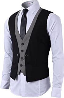 Mens Dress Slim Fit Vests Premium Business Dress Suit Vests Button Closure