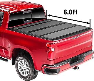 "Upgraded Flip Fiberglass Tonneau Cover, Hard Folding Waterproof Truck Bed - Fits 2019-2021 Ford Ranger 6' 1"" Bed (72.7"")"