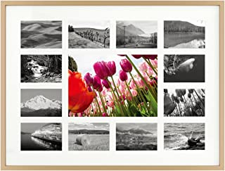 12x16 Gold Aluminum Metal Frame - 13 Opening Ivory Mat - Displays One 5x7 Photo and Twelve 2x3 Pictures - Collage Frame - Real Glass, Sawtooth Hangers, Swivel Tabs - Wall Mounting, Landscape, Portrait