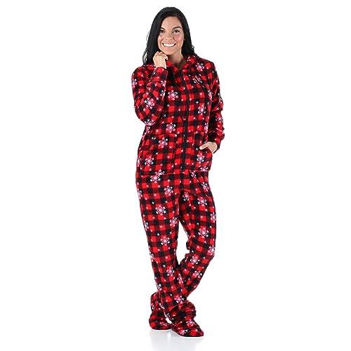 1fcf2657a4 SleepytimePjs Women s Sleepwear Fleece Hooded Footed Onesie Pajamas