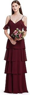 Ever Pretty レディース ウェディング 結婚式 秋 パーティー ティアード シフォン イブニング ドレス ワンピース 7202