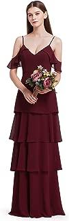 Womens Elegant Sleeveless Floor Length Ruffles Chiffon Bridesmaids Dress 07201
