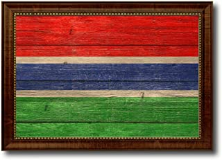 Gambia Country Flag Texture Canvas Print, Brown Gold Picture Frame Home Decor Wall Art Decoration Gifts
