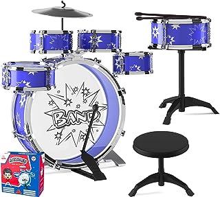EMAAS Kids Jazz Drum Set for Kids – 5 Drums, 2 Drumsticks, Kick Pedal, Cymbal Chair,..