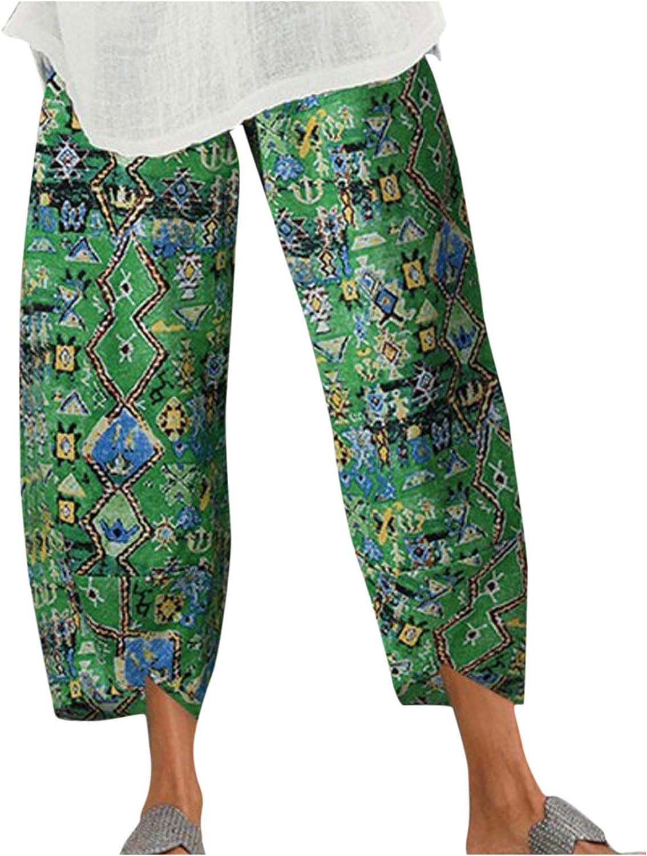 POTO Women's Linen Pants Casual Elastic Wide Loose Leg Sale Pri Sales Waist