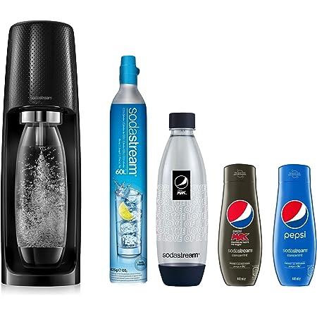 Sodastream Pack Spirit avec Machine à Eau Pétillante et Soda Spirit Noir, 2 Bouteilles FUSE en PET 1 L dont 1 Bouteille Pepsi Max, 2 concentrés PEPSI, 1 Cylindre de CO2 60 L [Exclusif Amazon]