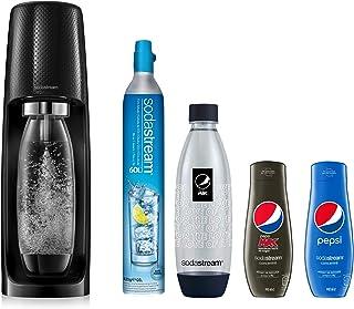 Sodastream Pack Spécial Machine Spirit Noire Plastique, Une Bouteille 1L, Une Bouteille FUSE PEPSI et 2 Concentrés PEPSI