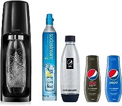 Sodastream Pack Spirit avec Machine à Eau Pétillante et Soda Spirit Noir, 2 Bouteilles FUSE en PET 1 L dont 1 Bouteille Pe...