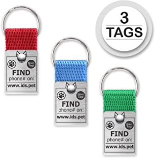 NaviTagi Color Set Pet ID Tags for Cats, Small/Medium/Large Dogs. Personalized w/ID Number. Reliable Design, Strong Stainless Steel Ring. 2 Phones Updatable Online, Name Safe