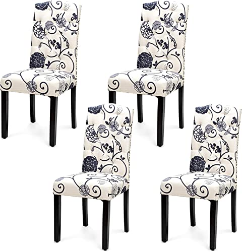 discount Giantex Parsons Chairs, Set of 4 Uphostered Kitchen Chairs w/Wood Legs, Padded Seat, Linen Fabric, Nails, Tufted Dining Room Chairs,Ideal for Dining Room, outlet online sale Kitchen, discount Living Room (4, Pattern) online sale