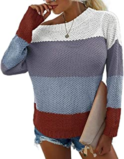 Miracle Womens Stripe Color Block Short Sweater Long Sleeves Stitching Color Round Neck Loose Pullovers Jumper Top
