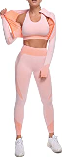 OLCHEE Women's 2 Piece Tracksuit Workout Outfits - Seamless High Waist Leggings and Long Sleeve Crop Top Yoga Activewear Set
