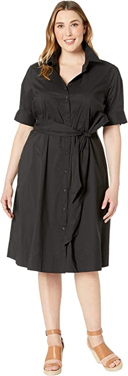 Plus Size Cotton-Blend Shirtdress