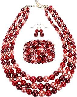 Artscope Simul/é Faux Perle Ensemble de Bijoux pour Femmes 3 Couches Strand Large Perle Collier Bracelet Boucles Doreilles Ensemble