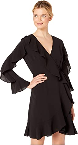 Pebble Stretch Chiffon Blouson Dress Features A Long Sleeve and Ruffle Skirt