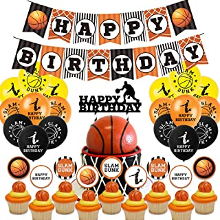 Awyjcas Basketball Birthday Banner and Cake Topper Basketball Cupcake Topper Theme Happy Party Supplies, Basketball Balloon Party Decoration