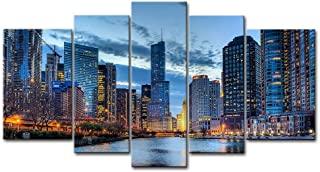 5 Panel Wall Art Painting Chicago Illinois Usa Pictures Prints On Canvas City The Picture..