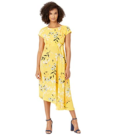 Donna Morgan Cap Sleeve Crepe Asymmetrical Hemline Dress (Mimosa Yellow/Orange Multi) Women