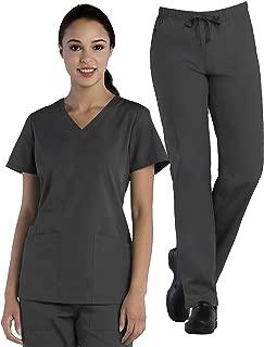 Tru Basic Womens V-Neck Top 10102 & Full Elastic Multi Pocket Cargo Pant 90103 Scrub Set