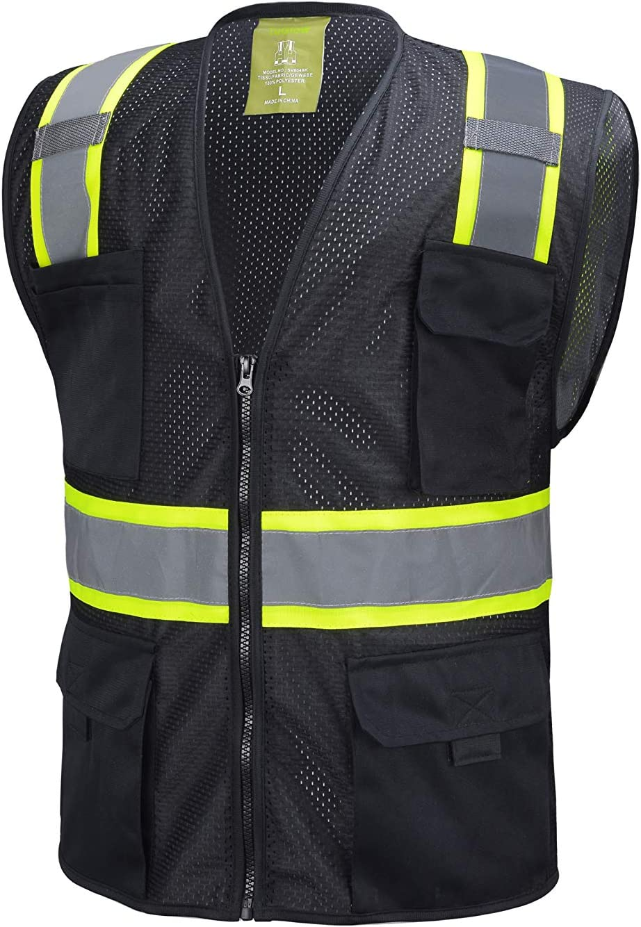favorite Black Two Tones Safety Vest Small Tool Multi-Pockets Sale With