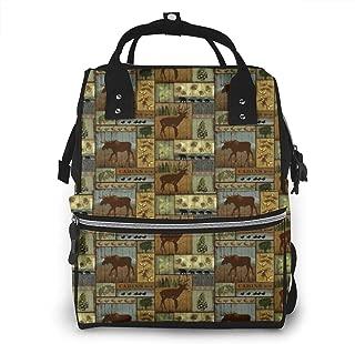Rustic Lodge Bear Moose Multi-Function Travel Backpack Nappy Bag,Fashion Mummy Bag