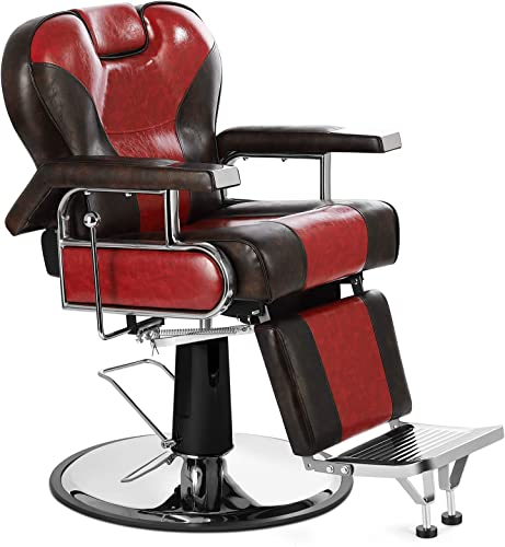 new arrival Artist Hand Heavy Duty Barber new arrival Chairs Hydraulic Reclining Barber Chair Salon Chair Styling Chair for Salon Equipment Tattoo Chair online sale (Red/Brown) sale