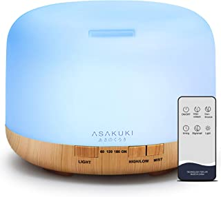ASAKUKI Essential Oil Diffuser with Remote Control, 1000ml Cool Mist Humidifier, Large 1 Liter Vaporizer with 14 LED Color...