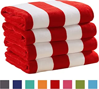 Great Bay Home 4 Pack Plush Velour 100% Cotton Beach Towels. Cabana Stripe Pool Towels for Adults. (Red, 4 Pack- 30