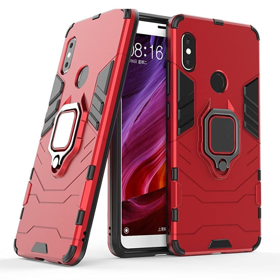 Xiaomi Redmi Note 5/Note 5 Pro Case,Futanwei Dual Layer Heavy Duty Shockproof Bumper Protective with [Magnetic Car Mount] 360 Degree Rotating Ring Holder Case for Xiaomi Redmi Note 5/Note 5 Pro,red