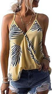 SimpleFun Women's Summer V Neck Floral Print Loose Spaghetti Strap Tank Tops Sleeveless Shirts