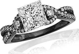 0.9 Carat Princess Cut Black Diamond Twisting Split Shank 3 Stone Diamond Engagement Ring (J-K Color, I1 Clarity)