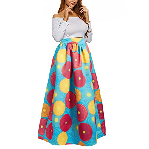 1b3804a03ca Uideazone Women African Floral Maxi Skirts High Waist A Line Long Skirts  With Pockets