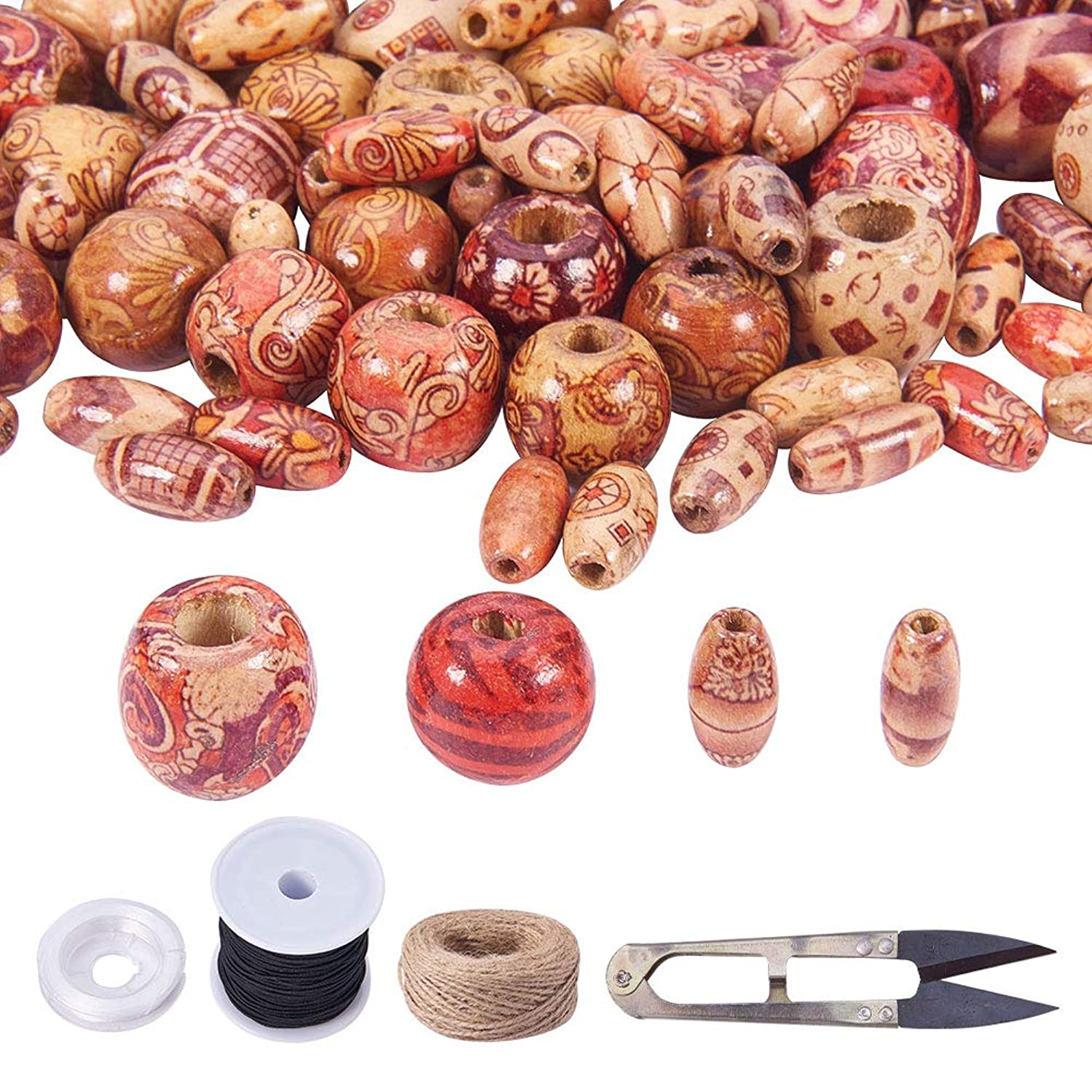 PH PandaHall 320 PCS 4 Stlyle Natural Painted Wood Beads Loose Spacer Bead with Elastic Cord, Hemp Cord, Scissors for DIY Handmade Rosary Bracelet Necklace Hair