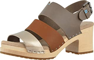 TOMS Womens Vegetable Tanned Leather Metallic Leather Phoebe Clog Sandals, Taupe, 7