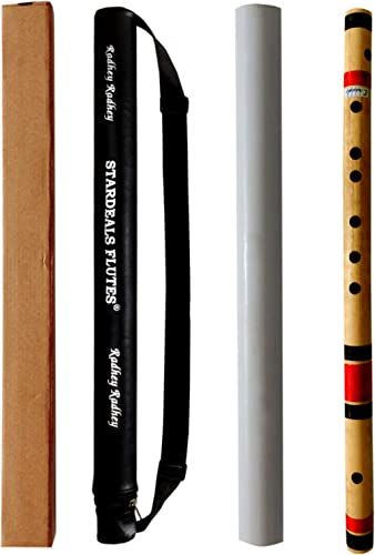 STARDEALS C Natural 7 Hole Right Hand Bamboo Flute Bansuri Size 19 Inch With Free Carry Bag (Natural Brown)