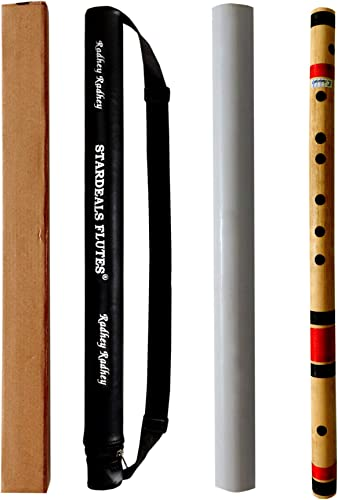 STARDEALS C Natural 7 Hole Right Hand Bamboo Flute Bansuri Size 19 Inch With Free Carry Bag Natural Brown