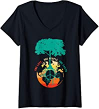 Womens World Peace Tree Love People Peace Sign Earth Day Gift V-Neck T-Shirt