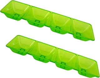 Party Essentials Hard Plastic 4-Compartment Rectangular Serving Trays, 5 x 16 Inches, Neon Green, 2-Pack