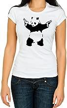 Red&White Co Banksy Panda with Guns Graffiti Woman T Shirt 3/4 Short Sleeve Cotton Crew Neck