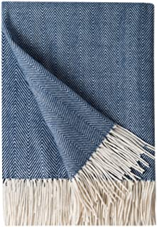 BOURINA Decorative Herringbone Faux Cashmere Fringe Throw Blanket Lightweight Soft Cozy for Bed or Sofa Farmhouse Outdoor Throw Blankets, 50