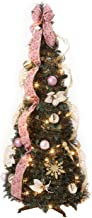 HOLIDAY PEAK 4' Victorian Style Pull-Up Christmas Tree, Gold and Blush Pink, Pre-Lit and Fully Decorated, Collapses for Easy Storage
