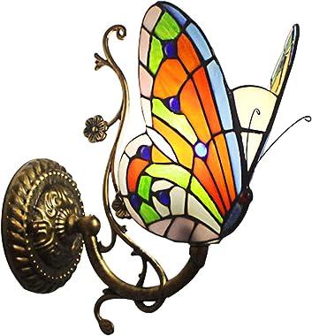 Applique Murale De Style Tiffany, Applique Murale Papillon Artisanal Rétro Européen En Verre Teinté Rétro, Couloir Chambre Ca