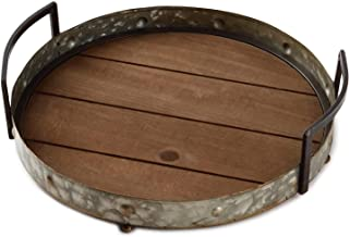 Galvanized Metal and Wood Tray Kitchen Accessories