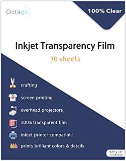 Octago Inkjet Transparency Paper (30 Pack) 100% Clear Transparency Film for Inkjet Printers - Print Color Transparency She...